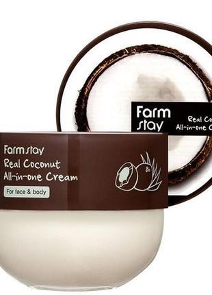 Крем для лица и тела с маслом кокоса farmstay real coconut all...