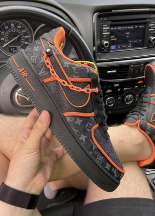 Nike air force 1 low black orange x louis vuitton.