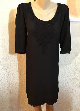 Черное платье с кружевом натуральная ткань