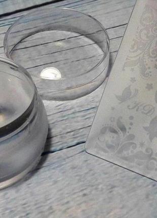 Силиконовый штамп для стемпинга  + скрапер с узорами + крышечк...
