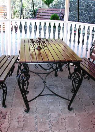 Изготовление кованных садовых наборов стол и скамейки на заказ.