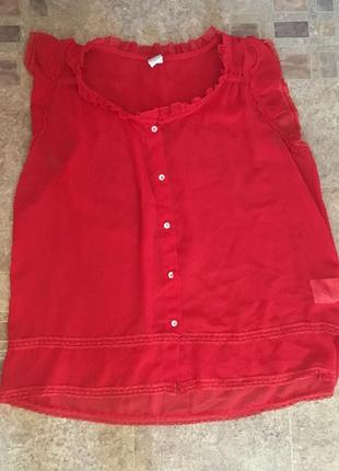 Новая летняя красная фирменная блуза с рюшами без рукавов от vila