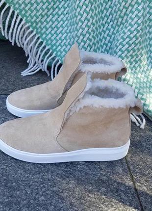 Зимние кожаные хайтопы. ботинки на меху