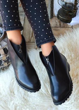 Черные ботинки с эко-кожи
