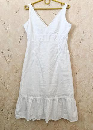 Стильный белый льняной сарафан платье с оборкой воланом
