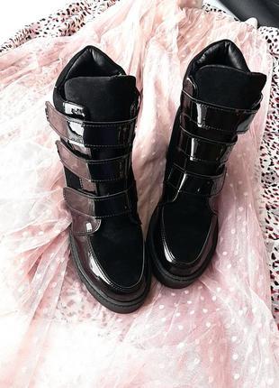 Кожаные демисезонные ботинки. сникерсы