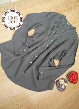 Льняное платье рубашка с длинным рукавом / 100% лен