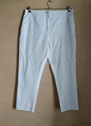 Летние белые брюки штаны чинос батал с карманами