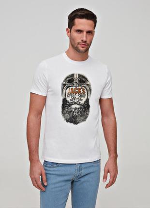 Прикольная мужская футболка белая летняя футболка с принтом