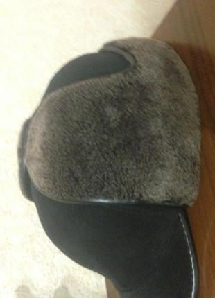 теплая мужская шапка на натуральной меховой основе 58р
