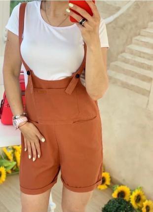 Джинсовый комбинезон шорты с карманами