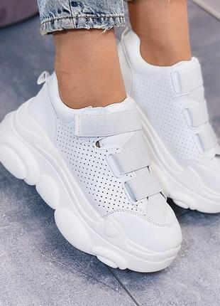 Белые женские кроссовки на липучке, кроссовки на платформе 40р...