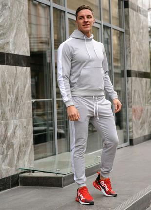 Серый мужской спортивный костюм с белыми лампасами (весна-осень)