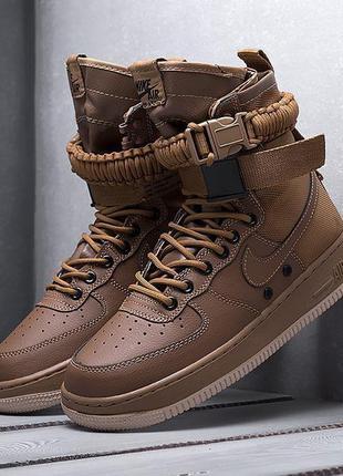 Мужские кроссовки nike sf air force 1 (коричневые)