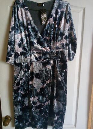 Платье рукав 3/4 цветочный принт