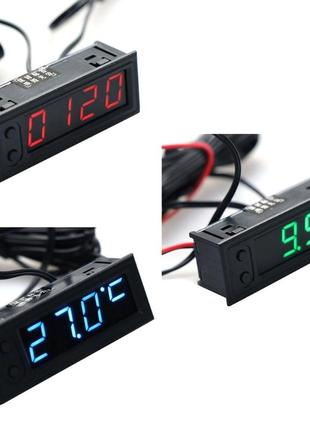 Автомобильный Термометр + Вольтметр + Часы 12V ( 3 в 1)