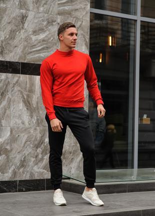 Мужской спортивный костюм - красный свитшот и черные штаны