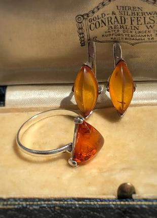 Набор кольцо и серьги серебро 925 пробы, калининградский янтарь