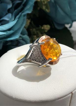 Кольцо серебро золото, янтарь