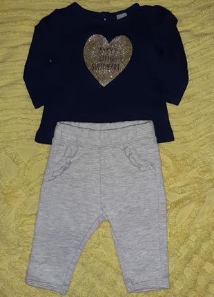 Комплект костюм кофта+ штаны на флисе 60-62 см для девочки