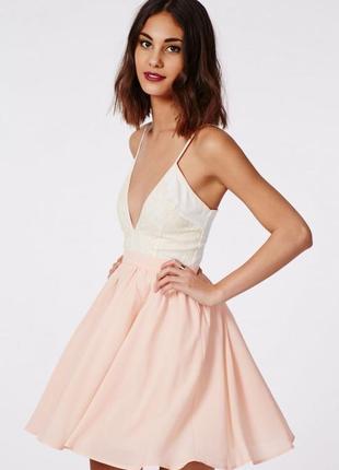 Пудровое коктейльно платье нарядное на выпускной 81784