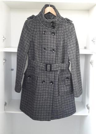 Xl демисезонное весеннее пальто шерстяное клетка  101760