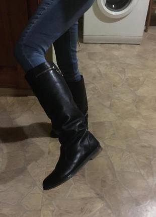 Кожаные сапоги/сапожки шкіряні черевики