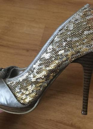 Туфли с паетками/туфлі з паєтками, золото, серебро