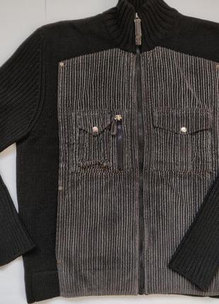 Крутой мужской свитер кофта с вельветом в стиле massimo dutti,...