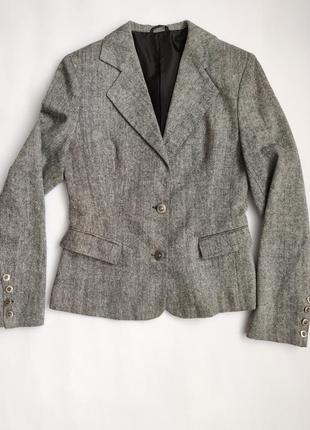 Пиджак жакет блейзер серый твид меланж шерсть