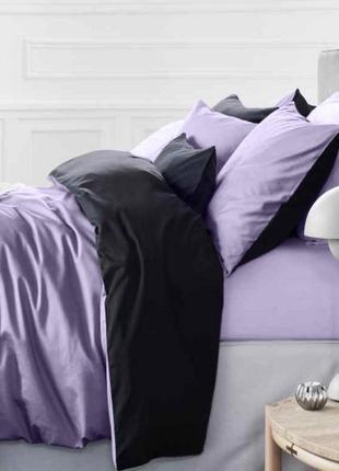 Комплект постельного белья однотонный черно сиреневый