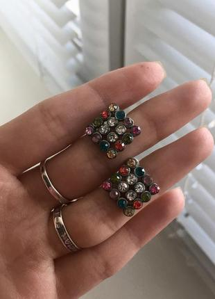 Серёжки серьги кульчики гвоздики бижутерия с камнями металличе...