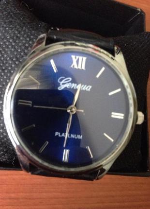 GENEVA часы черный ремешок синий циферблат