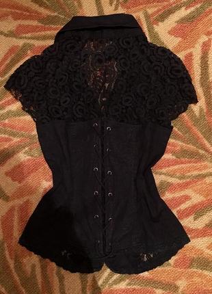 Блуза блузка корсет на молнии рубашка хлопок кружево