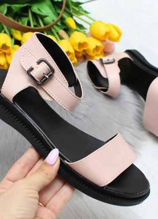 Новые женские кожаные бежевые босоножки сандали босоніжки