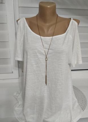 Блуза белая открытые плечи