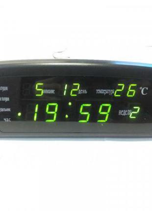 Часы настольные электронные LED 909 будильник календарь термометр