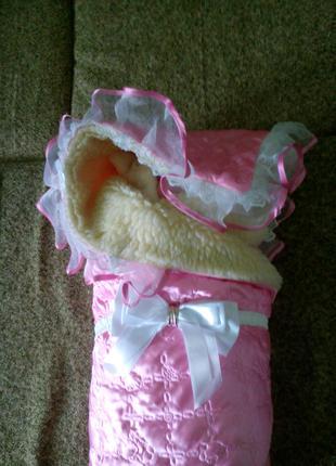 Конверт для новорожденных на выписку и в коляску на меху атласный
