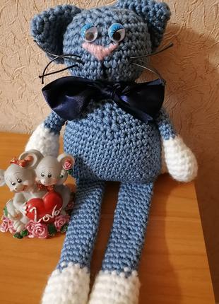 Авторская работа. Мягкая вязанная игрушка ручной Кот