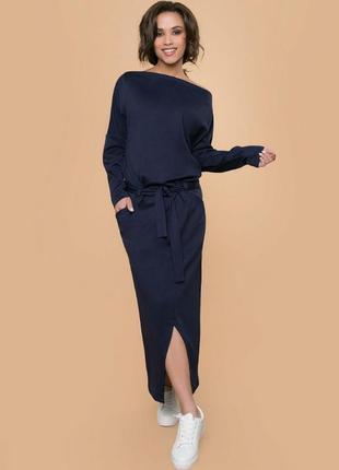 Р. 42-54  платье длинное в пол, с карманами и поясом темно син...