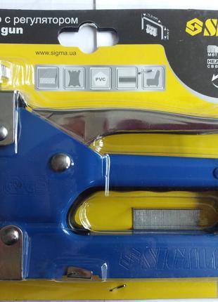 Степлер с регулятором для скоб 4-14мм (синий) Sigma (2821011)