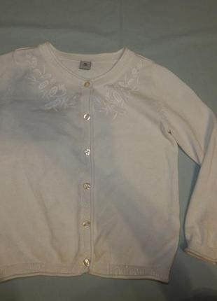 Кофта нарядная белая на пуговицах на девочку 5 лет 110 см