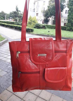 Класна червона сумка на замку, на плече, з карманчиками 200 грн