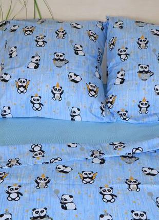 Детский комплект постельного белья панды полуторка
