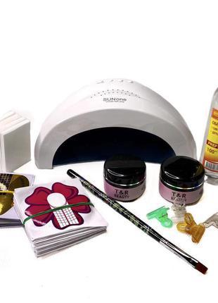 Набор для наращивания ногте с лампой SunOne
