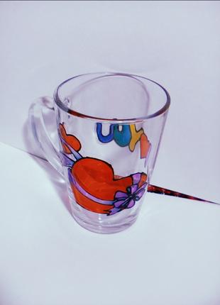 """Чашка с витражным узором """"I love you"""" ручной работы"""