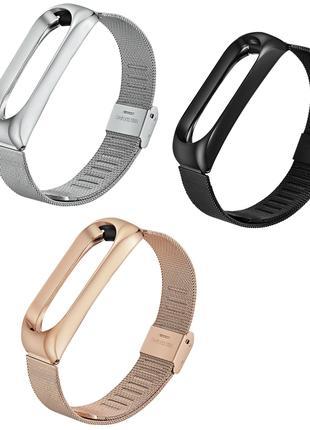 Металлический ремешок Xiaomi Mi Band 3 Silver Gold Black браслет