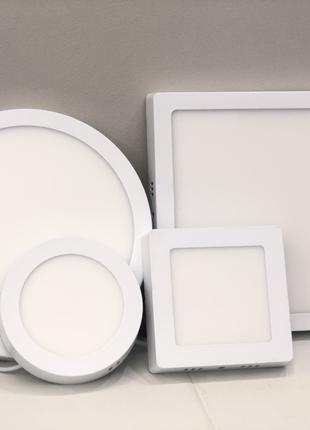 Светодиодные светильники Led накладные и врезные, круг и квадрат