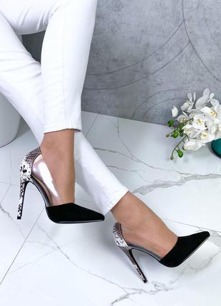 Чёрные замшевые туфли лодочки на шпильке,туфли под питона,туфл...