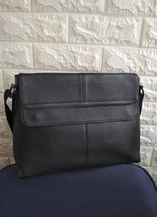 Мужская кожаная горизонтальная сумка чоловіча шкіряна сумка